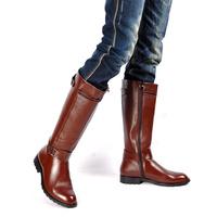 国旗班骑士时尚马丁靴尖头皮靴长靴高筒男靴潮流欧美阅兵黑棕色靴