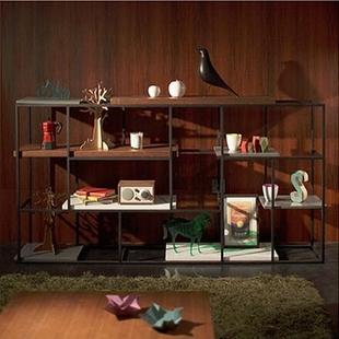 美式loft复古实木书架客厅铁艺书柜铁艺搁板置物架实木展示架花架