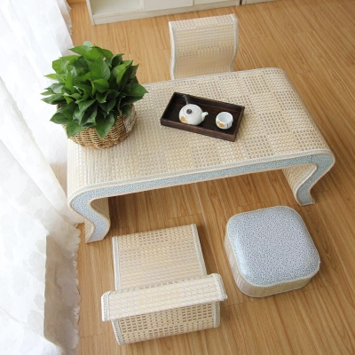 竹编榻榻米茶几飘窗桌简约小茶几茶桌椅组合日式地台阳台窗台矮桌旗舰店