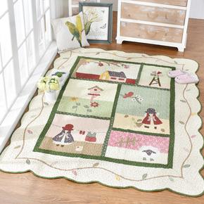 韩式榻榻米爬行垫家用床边垫纯棉地毯卧室可爱长方形满铺 可机洗