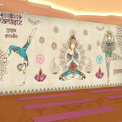 瑜伽馆背景墙2018新款