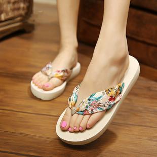 人字拖女士夹脚凉拖鞋夏时尚厚底防滑沙滩鞋海边外穿大码韩版中跟