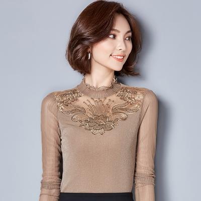冬季加绒加厚网纱打底衫女长袖小衫蕾丝上衣秋冬大码修身蕾丝衫