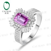 彩贸质造1.12克拉天然粉红蓝宝石戒指76分优质钻女款18k金戒指
