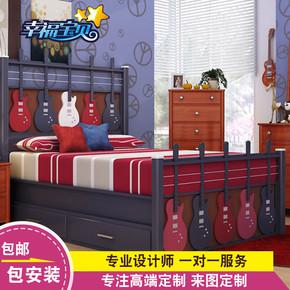 定制实木男孩女孩儿童床套房家具创意儿童吉他床特色儿童床ETC207