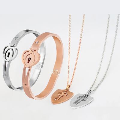 同心锁情侣手链手镯项链可刻字一对韩版学生简约玫瑰金色百搭饰品