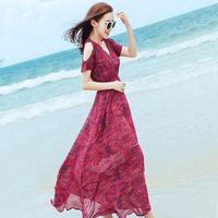 芋真夏季长裙露肩雪纺修身显瘦连衣裙波西米亚长裙海边度假沙滩裙