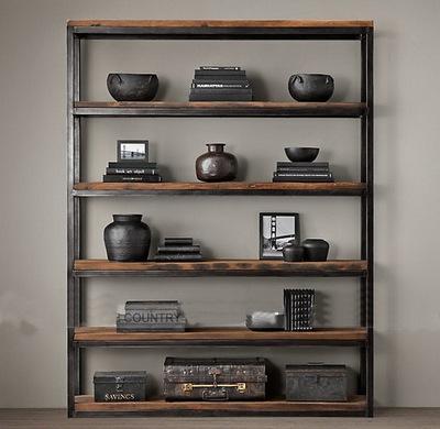 loft美式厨房铁艺置物架实木复古书架落地书柜陈列架北欧多层架子新品特惠