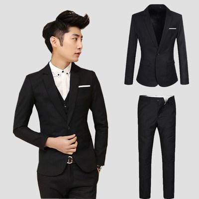 男士西装套装修身婚礼新郎伴郎礼服商务职业正装韩版小西服三件套