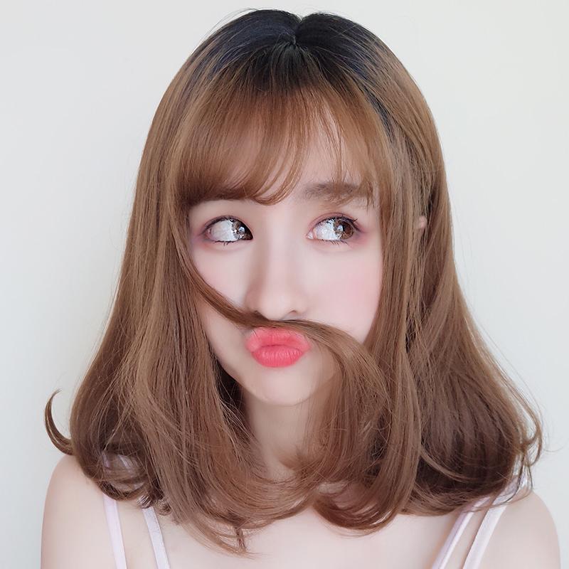 齐刘海微卷假发
