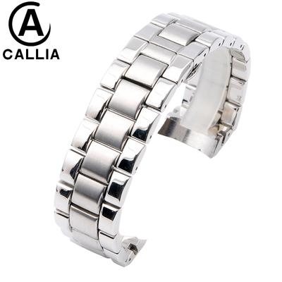 阿玛尼表链男弧口不锈钢手表带钢带AR2448 2434 2457蝴蝶扣23MM