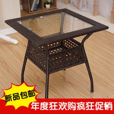 茶几特价简约迷你方茶几藤编钢化玻璃圆桌铁艺小边角收纳圆形桌子新品特惠