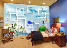 卡通墙纸儿童房壁纸防水无缝无纺布卧室海豚大型海洋蓝壁画幼儿园