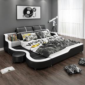 现代简约皮床榻榻米真皮床1.5/1.8米主卧小户型双人床婚床储物床