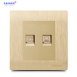 Computer phone switch socket panel network phone socket panel network line phone line phone line socket champagne gold wire