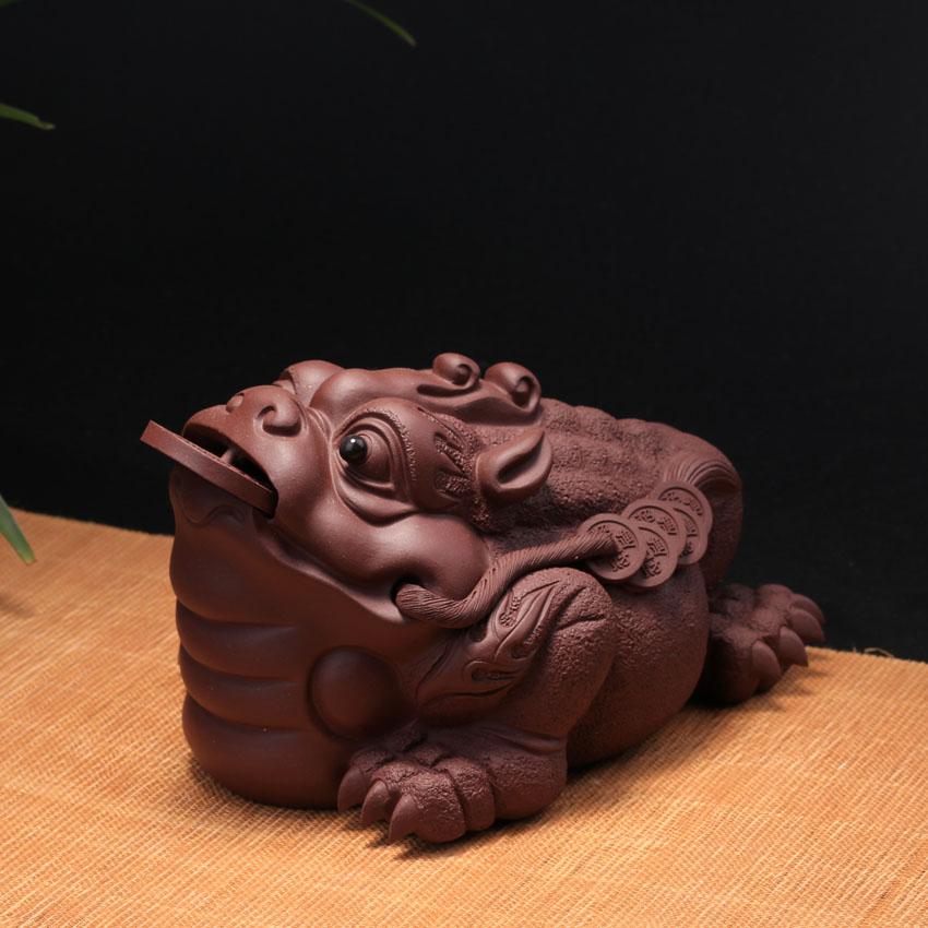宜兴紫砂茶宠摆件茶盘茶具配件精品雕塑手工茶玩招财龙蟾三足金蟾