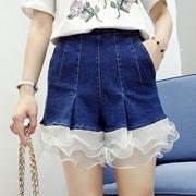 牛仔短裤女士春秋夏2017新款高腰阔腿韩版学生花边荷叶边显瘦薄款