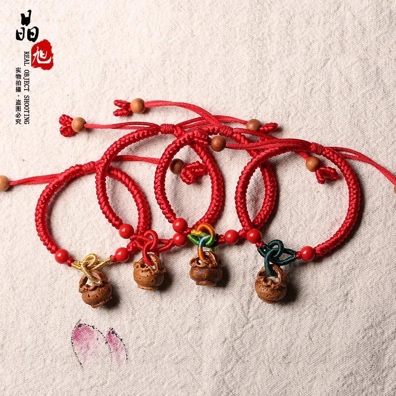 桃核红绳手链