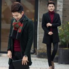 新中长款毛呢修身大衣韩版时尚潮流男装外套男式青年呢子秋冬风衣