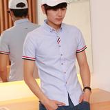 春季男士休闲修身牛津纺纯色打底衬衫学生短袖韩版白衬衣寸衣