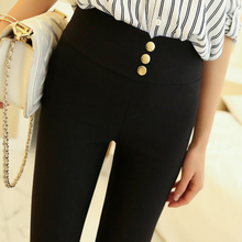 Tight black leggings, thin pants, students'pencil trousers, Korean version of high waist, non-threaded nine-minute pants in spring