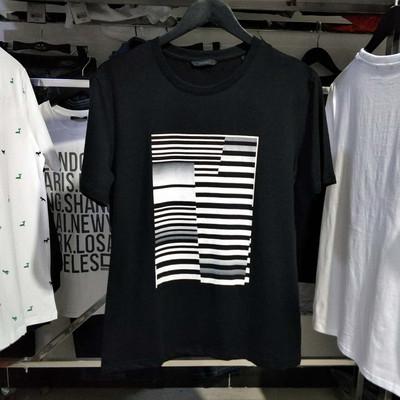 莫迪洛JJ品牌男装男士短袖T恤圆领纯棉弹力莱卡印花修身潮T恤黑色口碑如何