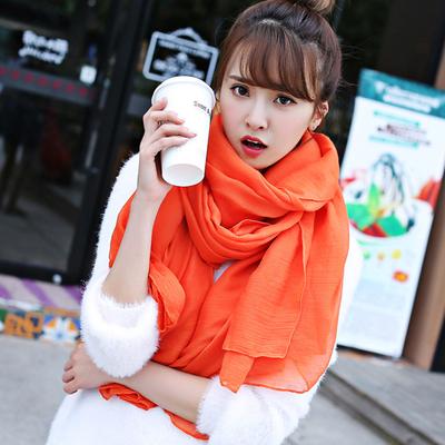 棉麻丝巾女春夏文艺纯色超大海滩纱巾四季通用披肩长款围巾两用秋