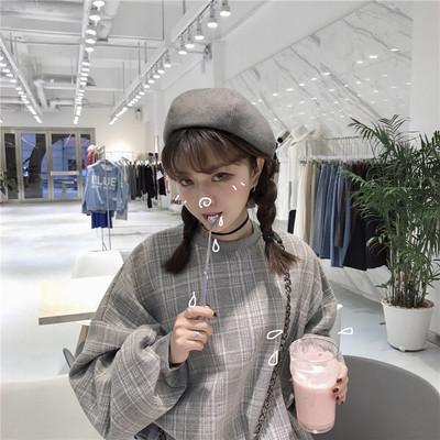 韩版春装女装学院风bf宽松加厚格子长袖套头毛呢卫衣外套学生上衣