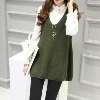 秋装新款韩版女装V领蝙蝠针织衫马甲背心宽松大码毛衣中长款外套