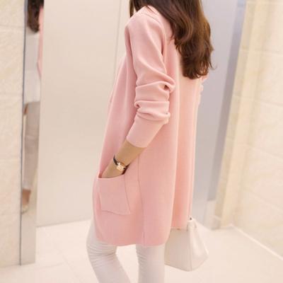 春装新款女装2019韩版宽松中长款开衫针织衫秋季毛衣外套女长袖
