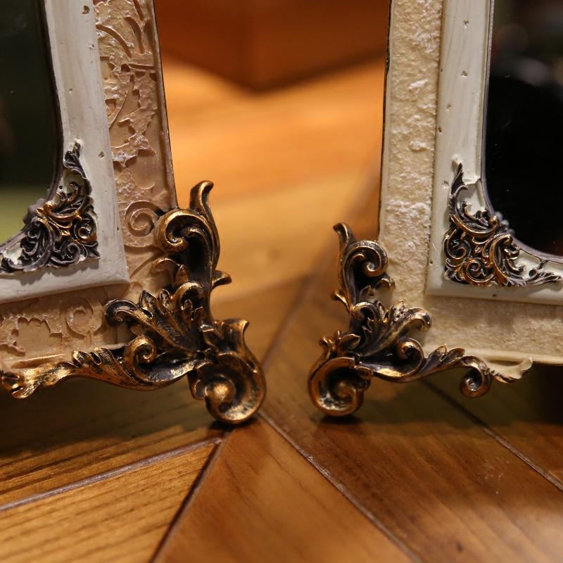梳妆镜子桌面卧室客厅化妆镜台式镜复古宫廷风欧式美式树脂公主镜
