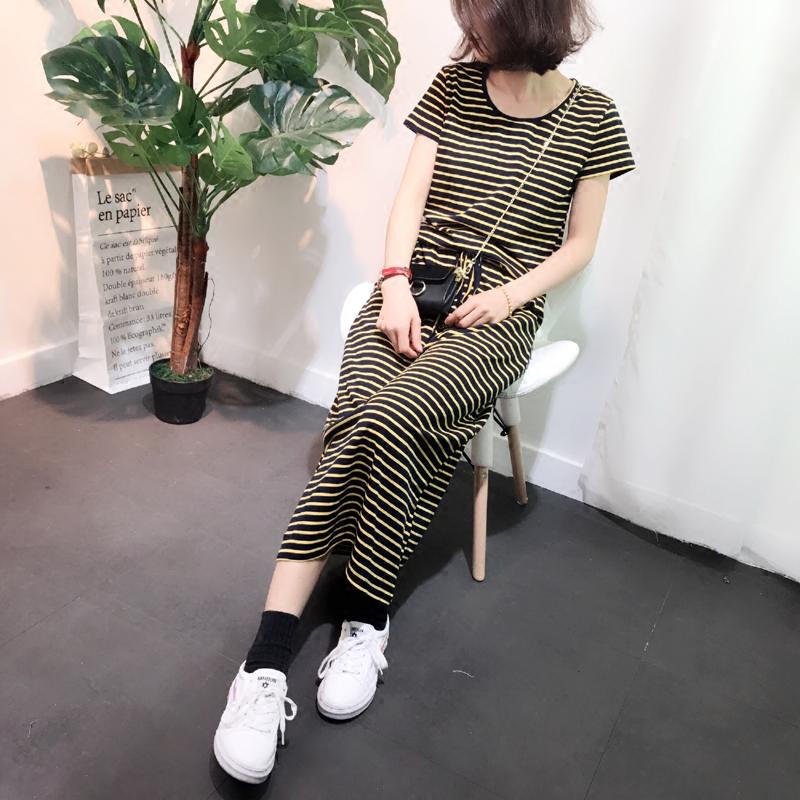新品2018夏女韩版条纹连衣裙中长款气质弹力抽绳收腰显瘦大码短袖