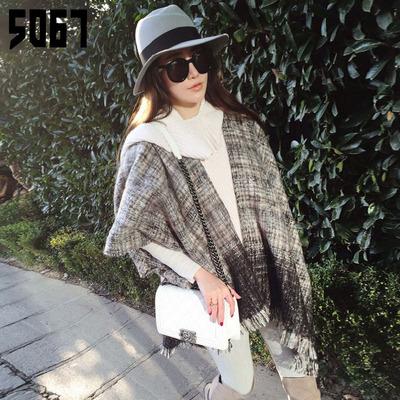 围巾女士秋冬季超长款韩版仿羊绒渐变色加厚保暖超大披肩两用斗篷