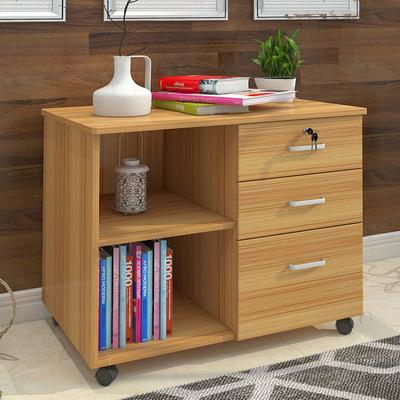 虎督木质办公柜子落地式文件柜移动矮柜带锁三抽屉档案资料柜储物