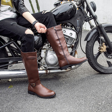 Winter men's boots, brown parade, European and American trend, high men's boots, boots, sharp knights, Martin boots, fashion.