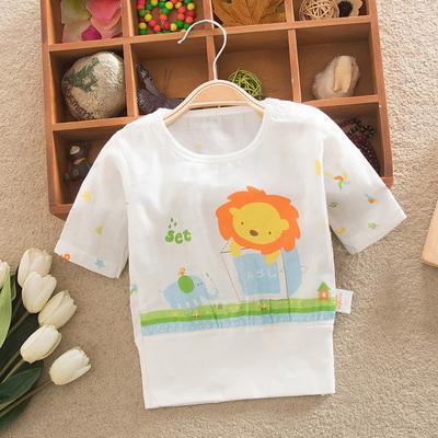 夏季婴儿棉纱七分短袖上衣儿童宝宝护肚内衣夏天半袖双层纱布衣服