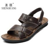 夏季男士沙滩鞋男老人中老年男式真皮凉拖鞋大码36小码防滑皮凉鞋