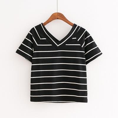 夏季韩版新款 横细条纹前后V领短款高腰女百搭显瘦女装短袖T恤潮