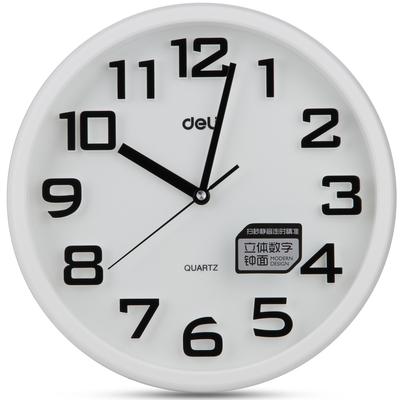 得力8948挂钟采用优质材料外观简洁大方立体数字钟面扫秒走时