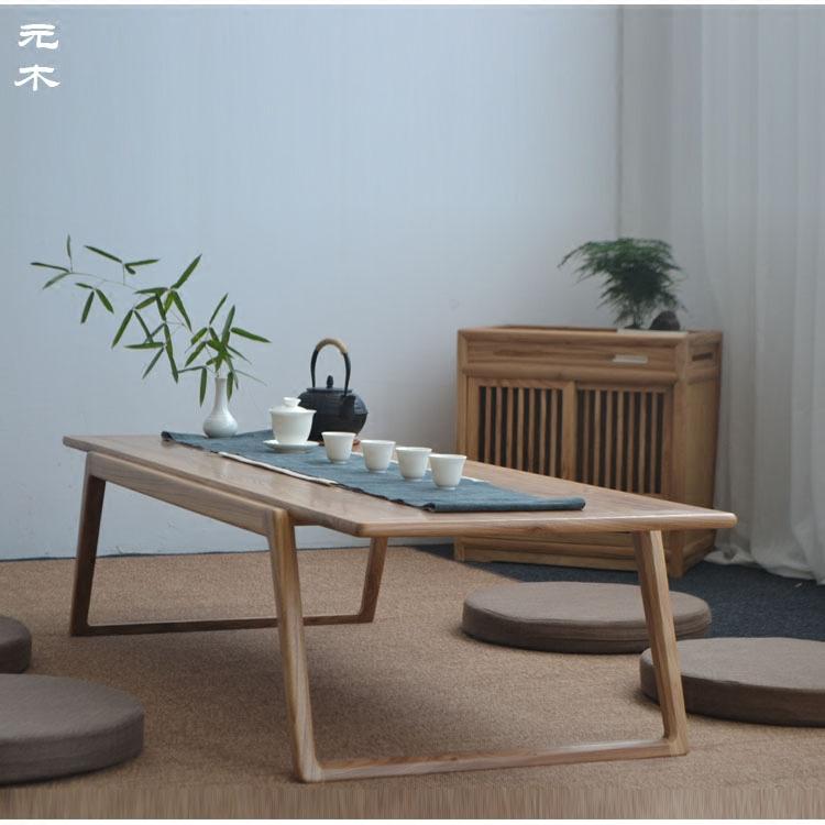 老榆木新中式矮茶桌实木榻榻米桌阳台飘窗桌炕几禅意茶几黑胡桃木