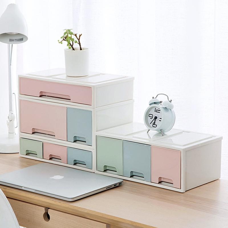 抽屉式塑料桌面收纳盒办公桌多层整理