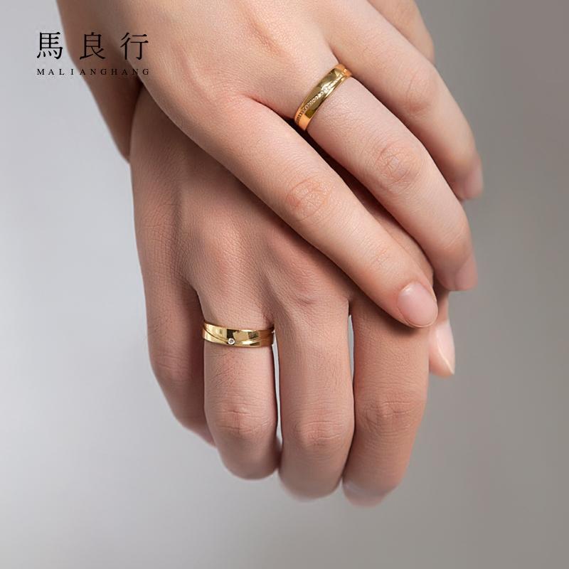 M-LAB/马良行时间定制情侣对戒原创设计925银戒指女一对指环男