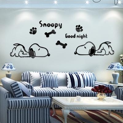 史努比3d亚克力立体墙贴卡通动漫儿童房卧室客厅少发背景自粘墙贴正品热卖
