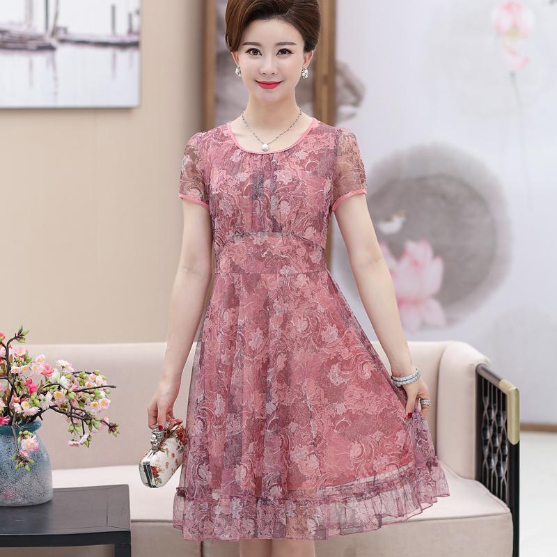 中年印花裙子
