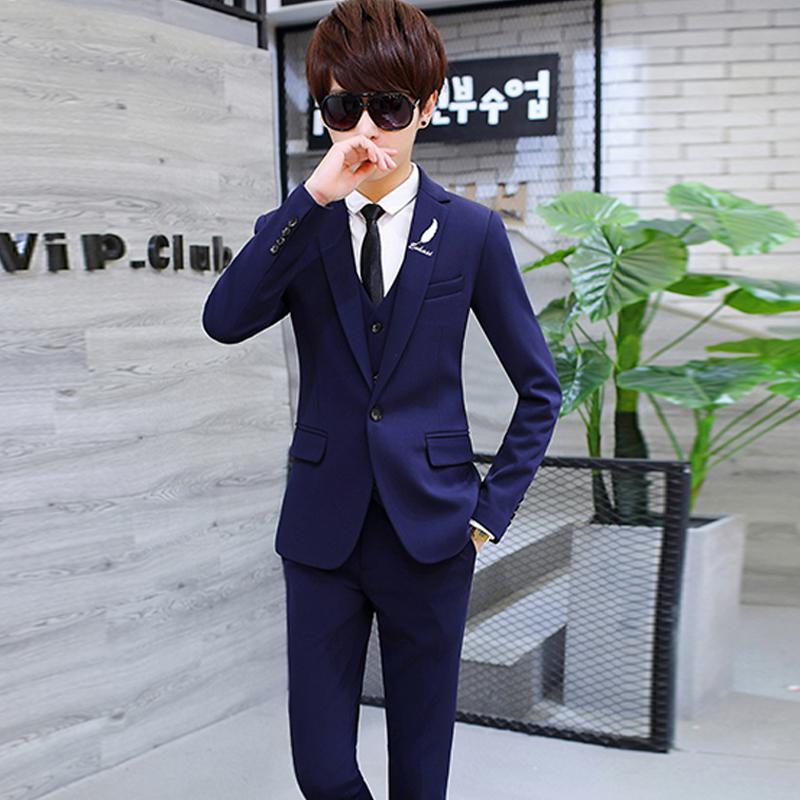 西服外套学生 型潮流男装 西装 男帅气修身 套装 三件套青少年秋季韩版