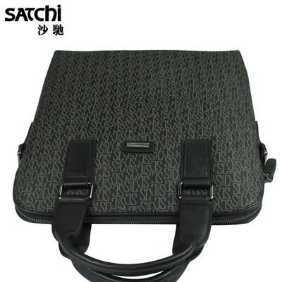 SATCHI沙驰男包【专柜包邮】 男士手提电脑商务包KM903053-3HC