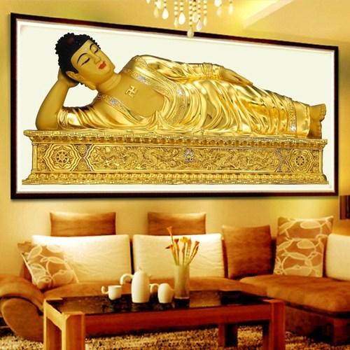 钻石画钻石十字绣满绣卧佛像释迦摩尼如来佛祖金色佛菩萨新款客厅