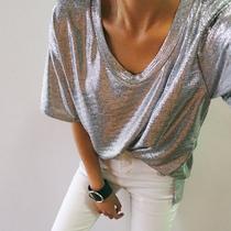 现!韩国代购女装夏装新款帅气宽松时尚亮闪闪百搭侧开叉短袖T恤