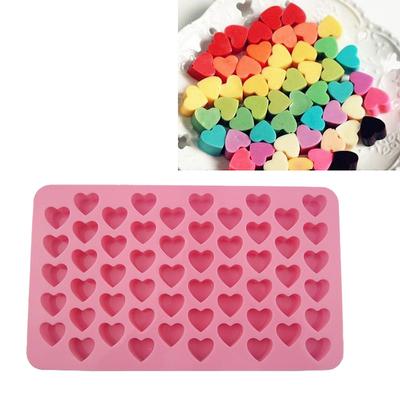 迷你55连心形泡腾模 红糖模 硅胶爱心巧克力模具 55格糖果模具