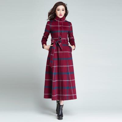 专柜羊绒大衣女修身加长款正品羊毛格子毛呢外套超长大码立领呢子